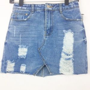 Dresses & Skirts - Destructed Distressed Jean Mini Skirt